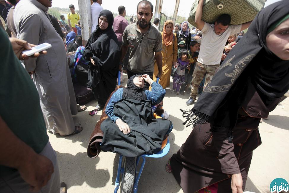 A woman who fainted, is transported in a wheelbarrow by her brother as displaced Sunni people, who fled the violence in the city of Ramadi, arrive at the outskirts of Baghdad,